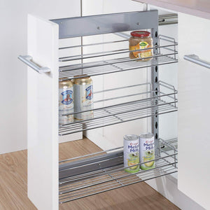 New 10x18 5x25 9 inch cabinet pull out chrome wire basket organizer 3 tier cabinet spice rack shelves full pullout set