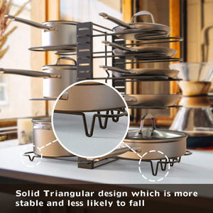 Best seller  geekdigg pot rack organizer 3 diy methods height and position are adjustable 8 pots holder black metal kitchen cabinet pantry pot lid holder upgraded