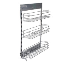 Load image into Gallery viewer, Home 10x18 5x25 9 inch cabinet pull out chrome wire basket organizer 3 tier cabinet spice rack shelves full pullout set