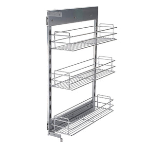 Home 10x18 5x25 9 inch cabinet pull out chrome wire basket organizer 3 tier cabinet spice rack shelves full pullout set