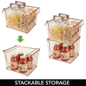 Results mdesign modern stackable metal storage organizer bin basket with handles open front for kitchen cabinets pantry closets bedrooms bathrooms large 6 pack copper