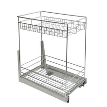 Load image into Gallery viewer, Explore 17 3x11 8x20 7 cabinet pull out chrome wire basket organizer 2 tier cabinet spice rack shelves bowl pan pots holder full pullout set