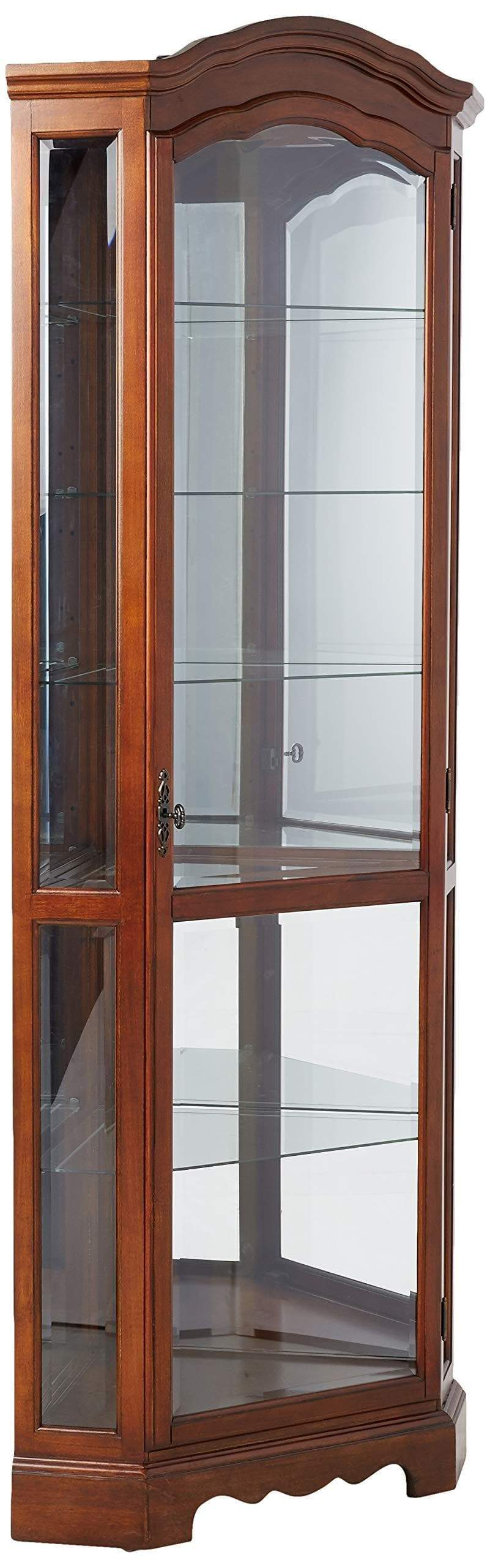 Cheap 5 shelf corner curio cabinet medium brown and clear