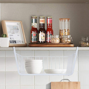 Discover the homeideas 4 pack under shelf basket white wire rack slides under shelves storage basket for kitchen pantry cabinet