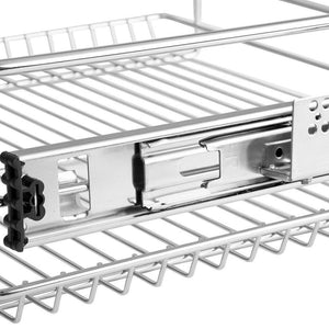 Results evergohome roll out kitchen cabinet organizer adjustable chrome pull out cabinet organizer heavy duty side mount single sliding shelf suitable for 20 inches wide kitchen cabinet external