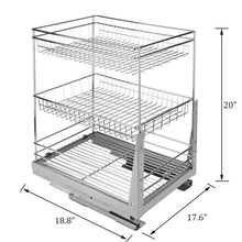 Load image into Gallery viewer, Purchase 17 6 in length cabinet pull out chrome wire basket organizer 3 tier cabinet spice rack shelves bowl pan pots holder full pullout set