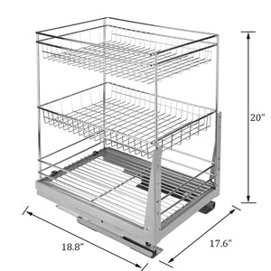Purchase 17 6 in length cabinet pull out chrome wire basket organizer 3 tier cabinet spice rack shelves bowl pan pots holder full pullout set