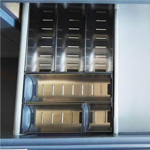 Load image into Gallery viewer, Budget friendly drawer insert cabinet cutlery tray storage catering utensils box stainless steel kitchen 6 compartments 47 228 46 2cm
