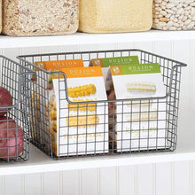 Load image into Gallery viewer, Related mdesign metal kitchen pantry food storage organizer basket farmhouse grid design with open front for cabinets cupboards shelves holds potatoes onions fruit 12 wide 2 pack graphite gray