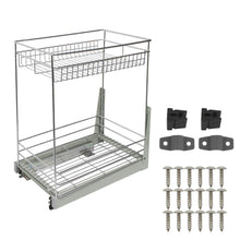 Load image into Gallery viewer, Featured 17 3x11 8x20 7 cabinet pull out chrome wire basket organizer 2 tier cabinet spice rack shelves bowl pan pots holder full pullout set