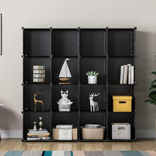 Load image into Gallery viewer, On amazon kousi portable storage shelf cube shelving bookcase bookshelf cubby organizing closet toy organizer cabinet black no door 16 cubes