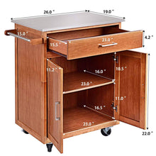 Load image into Gallery viewer, Amazon best giantex wood kitchen trolley cart rolling kitchen island cart with stainless steel top storage cabinet drawer and towel rack