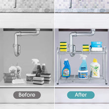 Load image into Gallery viewer, Buy now bextsware under sink shelf organizer 2 tier storage rack with flexible expandable 15 to 27 inches for kitchen bathroom cabinet