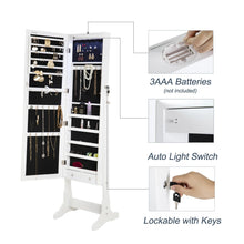 Load image into Gallery viewer, Top finnhomy lockable mirrored jewelry armoire storage organizer free standing makeup cabinet holder w led light stand for ring necklace earring cosmetics broach bracelet white