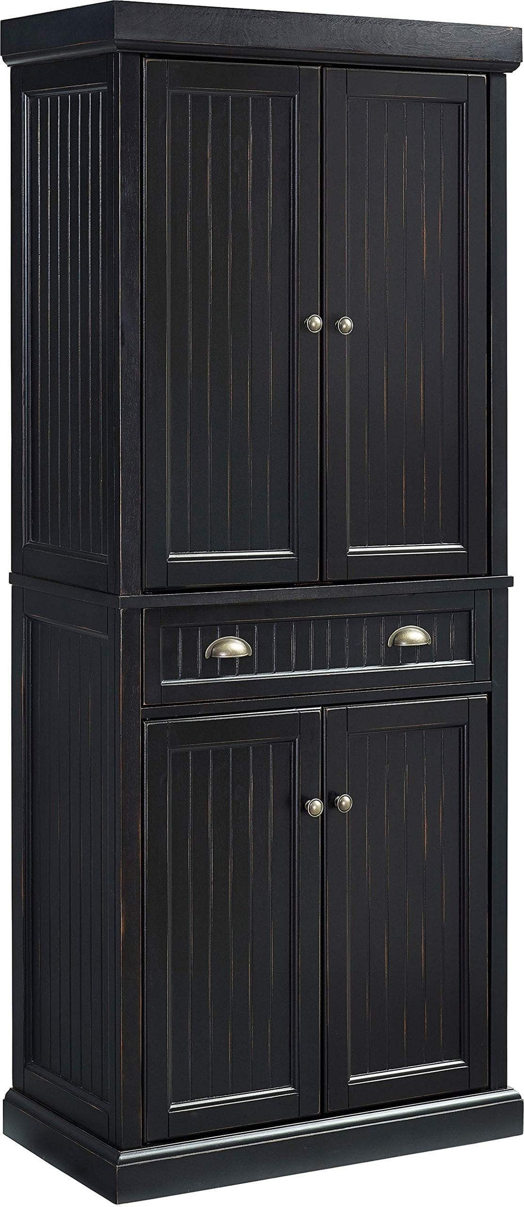 Selection crosley furniture seaside kitchen pantry cabinet distressed black