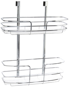 Budget lynk over cabinet door organizer double shelf w molded tray chrome