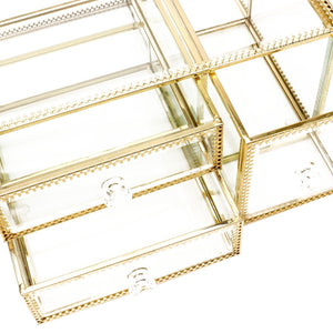 Discover the best antique beauty display clear glass 3drawers palette organizer cosmetic storage makeup container 3cube hoder beauty dresser vanity cabinet decorative keepsake box