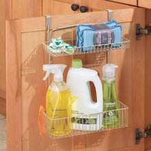Load image into Gallery viewer, Organize with mdesign metal farmhouse over cabinet kitchen storage organizer holder or basket hang over cabinet doors in kitchen pantry holds dish soap window cleaner sponges satin
