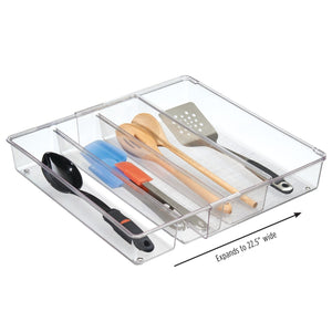 Amazon mdesign adjustable expandable 4 compartment kitchen cabinet drawer organizer tray divided sections for cutlery serving cooking utensils gadgets bpa free food safe 3 deep pack of 2 clear