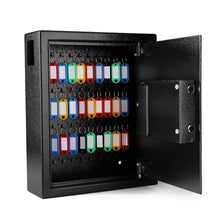 Load image into Gallery viewer, Related flexzion key cabinet with electronic digital lock wall mounted key box 40 key capacity colored tags hooks safe organizer security storage locker system for homes hotels schools businesses