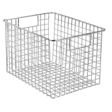 Load image into Gallery viewer, Exclusive mdesign large heavy duty metal wire storage organizer bin basket built in handles for food storage kitchen cabinet pantry closet bedroom bathroom garage 12 x 9 x 8 pack of 4 chrome