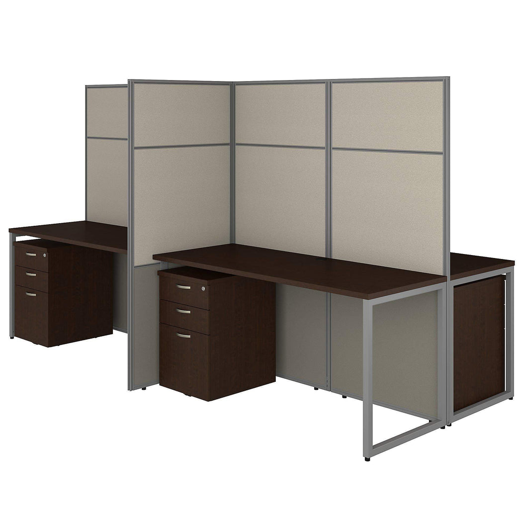 Select nice bush business furniture eodh66smr 03k easy office 4 person cubicle desk with file cabinets and 66h panels 60wx60h mocha cherry
