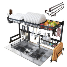 Load image into Gallery viewer, Kitchen over sink dish drying rack kitchen organizer and dish drainer with 7 interchangeable racks and caddies plus bonus wine glass rack that mounts to cabinetry