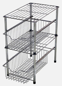 Online shopping decobros stackable under sink cabinet sliding basket organizer drawer chrome