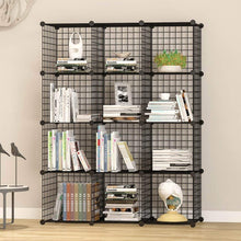 Load image into Gallery viewer, Storage organizer unicoo multi use diy 12 cube wire grid organizer bookcase bookshelf storage cabinet wardrobe closet toy organizer wire cube storage black wire
