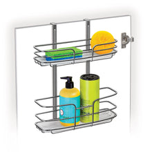 Load image into Gallery viewer, Best seller  lynk over cabinet door organizer double shelf w molded tray chrome