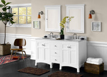 Load image into Gallery viewer, Amazon ronbow edward 27 x 34 transitional solid wood frame bathroom medicine cabinet with 2 mirrors and 2 cabinet shelves in white 617026 w01
