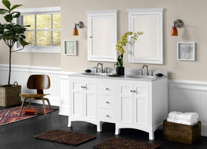 Amazon ronbow edward 27 x 34 transitional solid wood frame bathroom medicine cabinet with 2 mirrors and 2 cabinet shelves in white 617026 w01
