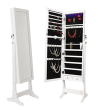 Load image into Gallery viewer, Storage finnhomy lockable mirrored jewelry armoire storage organizer free standing makeup cabinet holder w led light stand for ring necklace earring cosmetics broach bracelet white