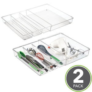 Top rated mdesign adjustable expandable 4 compartment kitchen cabinet drawer organizer tray divided sections for cutlery serving cooking utensils gadgets bpa free food safe 3 deep pack of 2 clear