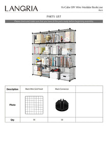 Organize with langria metal wire storage cubes modular shelving grids diy closet organization system bookcase cabinet 16 regular cube