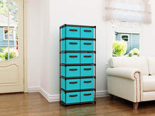 Load image into Gallery viewer, Related homebi storage chest shelf unit 12 drawer storage cabinet with 6 tier metal wire shelf and 12 removable non woven fabric bins in turquoise 20 67w x 12d x49 21h