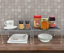 Load image into Gallery viewer, Storage sorbus pantry cabinet organizers features stackable expandable shelves made of steel ideal for pantry cabinet countertop and much more in kitchen bathroom silver