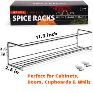 On amazon gorgeous spice rack organizer for cabinets or wall mounts space saving set of 4 hanging racks perfect seasoning organizer for your kitchen cabinet cupboard or pantry door