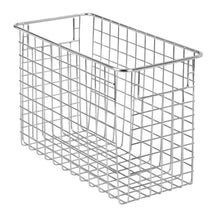 Load image into Gallery viewer, Try mdesign household metal wire storage organizer bins basket with handles for kitchen cabinets pantry bathroom landry room closets garage 4 pack 12 x 6 x 8 chrome