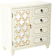 Load image into Gallery viewer, Purchase heather ann creations 4 drawer wooden accent chest and cabinet multi clover pattern grille with mirrored backing 30 75h x 29 5w beige gold