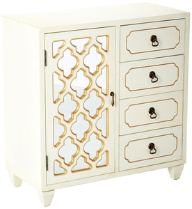 Purchase heather ann creations 4 drawer wooden accent chest and cabinet multi clover pattern grille with mirrored backing 30 75h x 29 5w beige gold