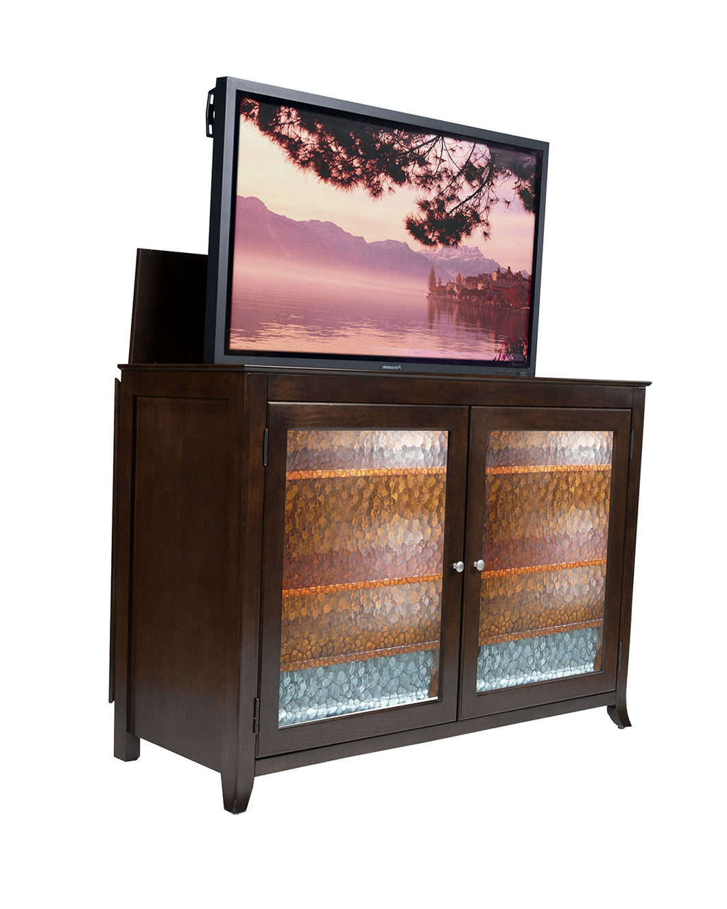 New touchstone 70065 carmel tv lift cabinet espresso up to 60 inch tvs diagonal 55 in wide contemporary style motorized tv cabinet pop up tv cabinet with memory feature ir rf 12v trigger