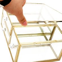 Load image into Gallery viewer, Discover the antique beauty display clear glass 3drawers palette organizer cosmetic storage makeup container 3cube hoder beauty dresser vanity cabinet decorative keepsake box