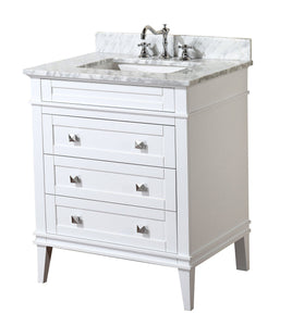 Purchase kitchen bath collection kbc l30wtcarr eleanor bathroom vanity with marble countertop cabinet with soft close function undermount ceramic sink 30 carrara white