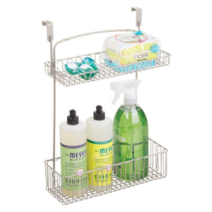 Products mdesign metal farmhouse over cabinet kitchen storage organizer holder or basket hang over cabinet doors in kitchen pantry holds dish soap window cleaner sponges satin