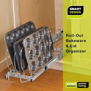 Select nice smart design expandable roll out lid bakeware organizer w adjustable dividers hardware long steel metal holds 100 lbs cabinets cookware items kitchen 21 40 x 8 5 inch chrome