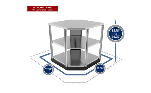 Outdoor Kitchen Stainless Steel 90 Degree Corner Cabinet
