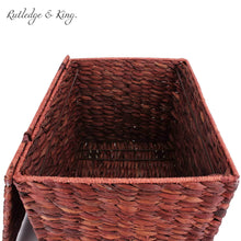 Load image into Gallery viewer, Budget seagrass rolling file cabinet home filing cabinet hanging file organizer home and office wicker file cabinet water hyacinth storage basket for file storage russet brown