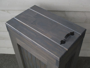 Amazon rustic wood trash bin kitchen trash can wood trash can trash cabinet dog food storage 13 gallon recycle bin gray stain metal handle handmade in usa by chris buffalowoodshop