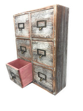 Load image into Gallery viewer, Top rated farmhouse decor desk organizer storage cabinet bathroom home shelves kitchen living room bedroom furniture apothecary drawers rustic wood distressed finish